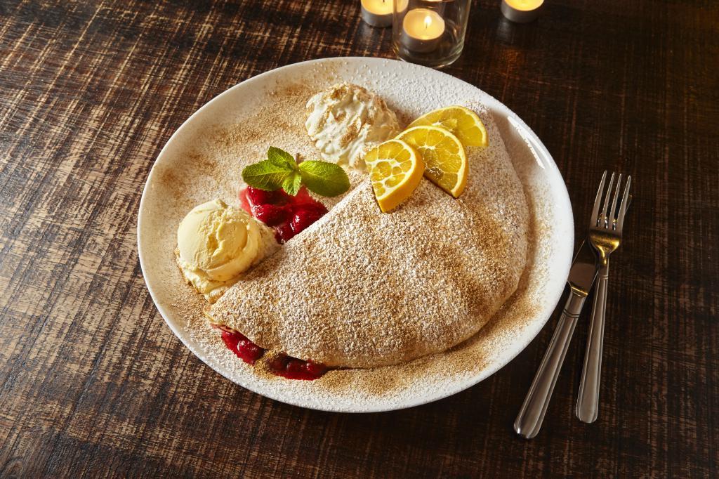 Pfannkuchen Himbeermus